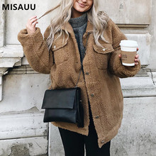 Misauu Fleece Faux Shearling Fur Jacket Coat Women Autumn Winter Plush Warm Thick Teddy Coat Female Casual Overcoat Outerwear недорого