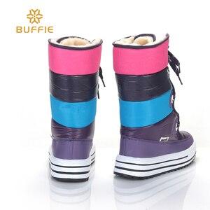 Image 2 - Listrado roxo Botas de Cano Alto moda inverno da senhora botas de neve não deslizamento qualidade botas Sapatos Da Menina navio livre de pele de pelúcia forro estilo quente