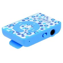 EDT-Mini Clip MP3 Music Participant SD Card Supported Three.5mm + Earphone + USB Cable (Blue)