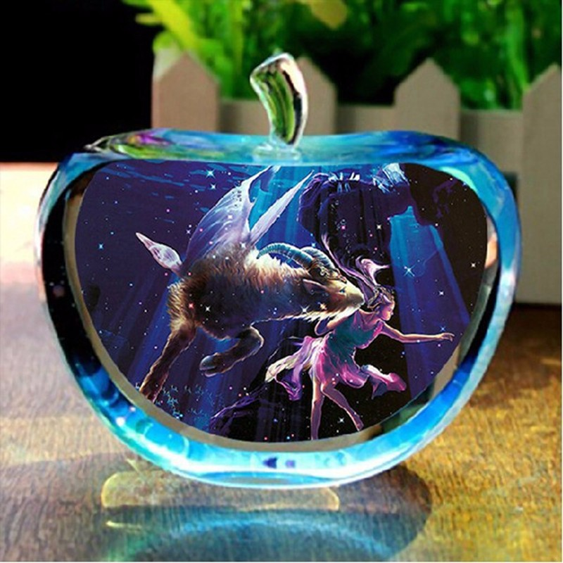 80mm High Quality Transparent DIY Apple Smooth Crystal Glass Constellation Custom Sphere Birthday Gifts Home Decorative Crafts