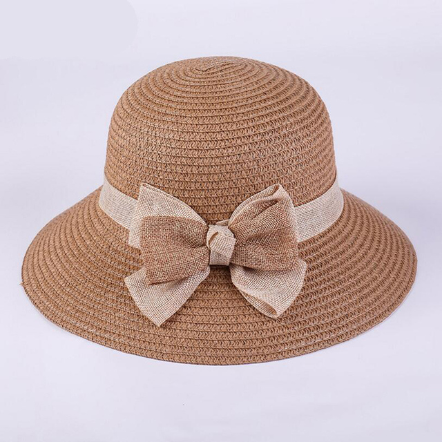 ffa918e63e7 2018 New Spring Elegant Bow Straw Hat Women s Dome Caps Summer Sun Hat  Fedora Panama Hats Girls Hot
