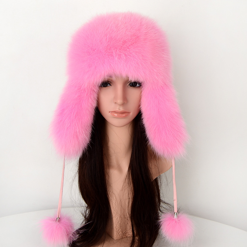 3a109b836a6 86526 New Fashion Warm Winter Fur Fox Fur Hat men and Women Ski Cap Cold Winter  Bomber Hats-in Bomber Hats from Apparel Accessories on Aliexpress.com ...