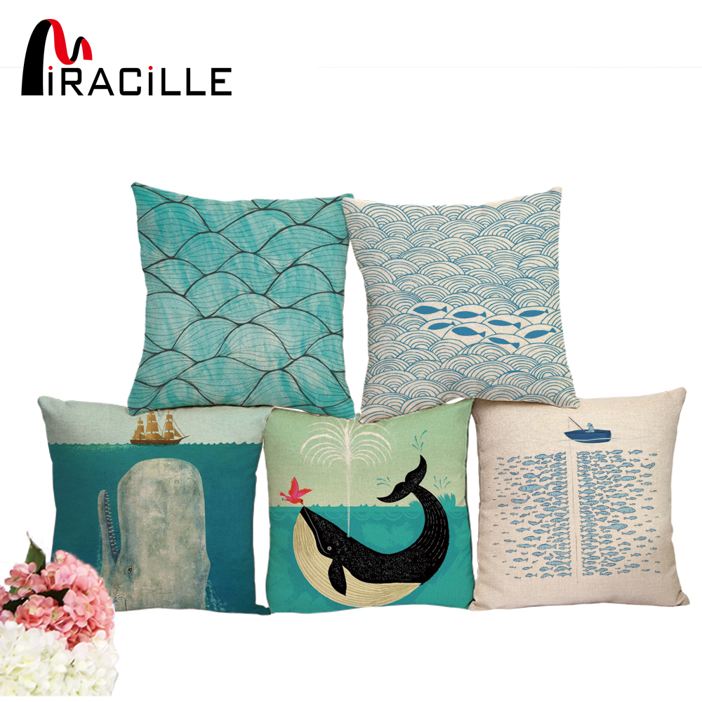 "Miracille Cotton Linen 18"" Blue Sea Series fish Print Home Decorative Throw Cushion Whale Car Seat Soft Waist Cushion No Filling"