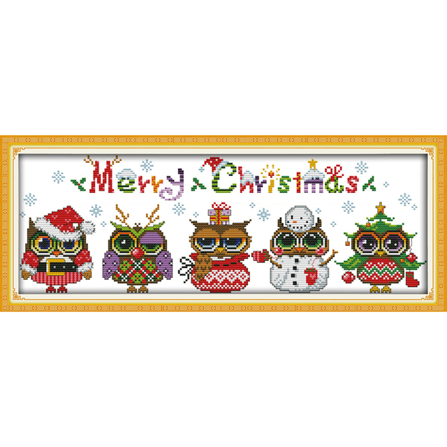 Everlasting love Christmas owls Ecological cotton Chinese cross stitch kits counted stamped 14 CT and 11 CT  new sales promotion