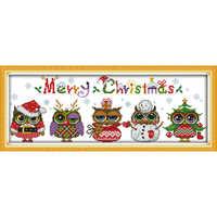 Ewige liebe Weihnachten eulen Ökologische baumwolle Chinesische kreuz stich kits gezählt gestempelt 14 CT und 11 CT neue verkäufe förderung