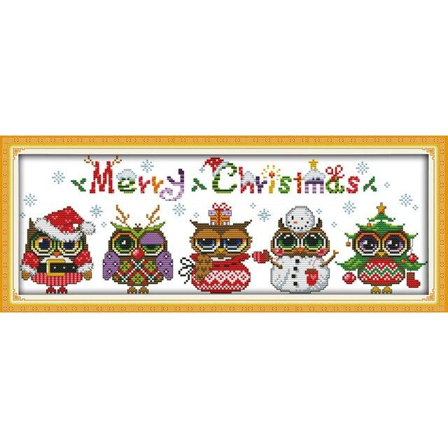 Kit de punto de cruz chino de algodón ecológico de búhos de Navidad de amor eterno con estampado de 14 CT y 11 CT nueva promoción de ventas