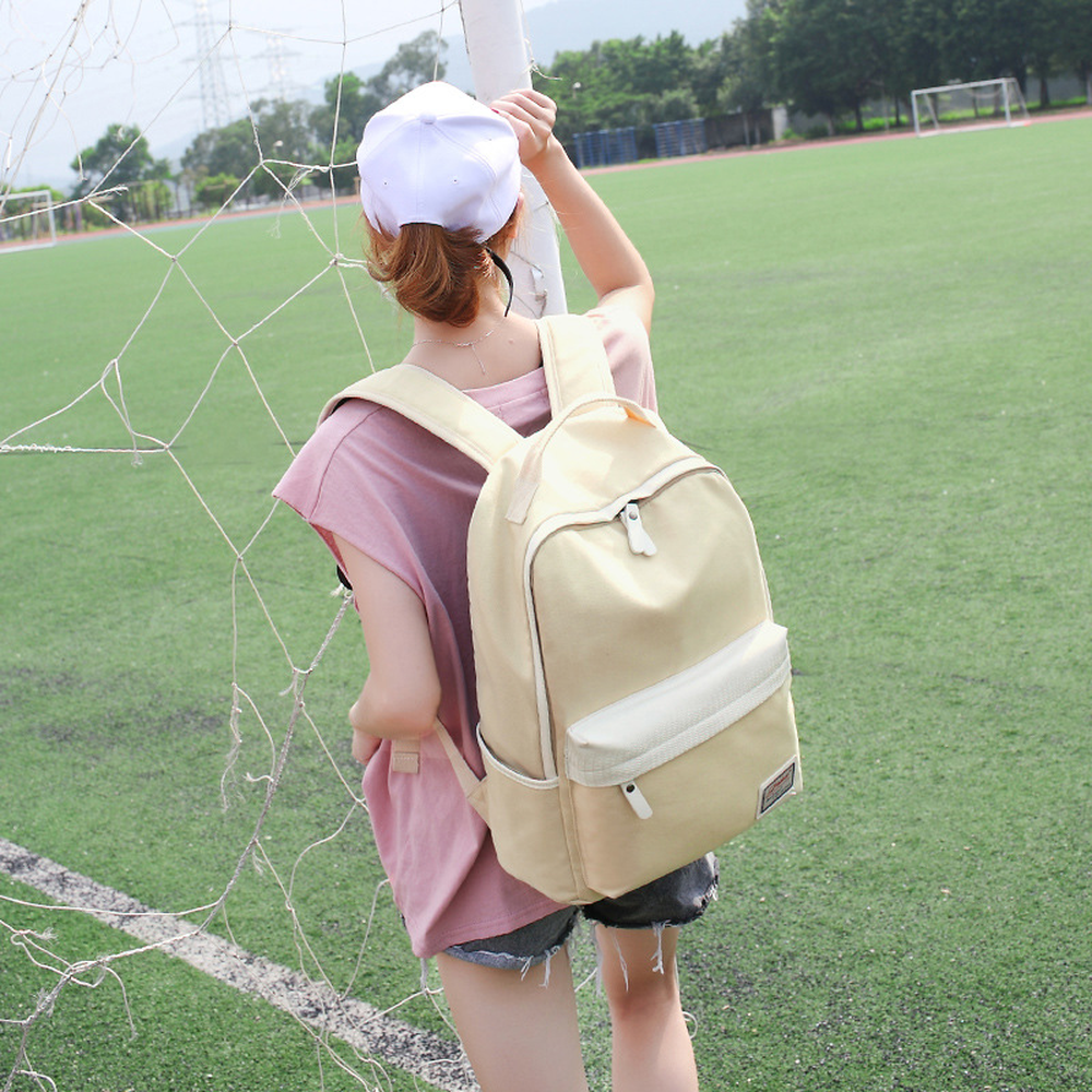Backpack hit color junior high school student bag Korean version of water-proof 2018 new