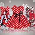 2015 Novo de Alta Qualidade Crianças Vestido de Manga Curta Dos Desenhos Animados Do Rato Roupas de Algodão Crianças Vestidos Para As Meninas Para O Natal Ano Novo