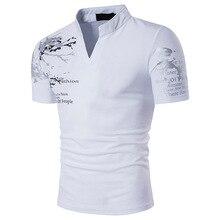 Summer Men's V Neck T Shirt Men Tee Casual Men's Slim Fit Short Sleeve T Shirt Solid Fashion Print Male's Tops New 2019 D30 недорого