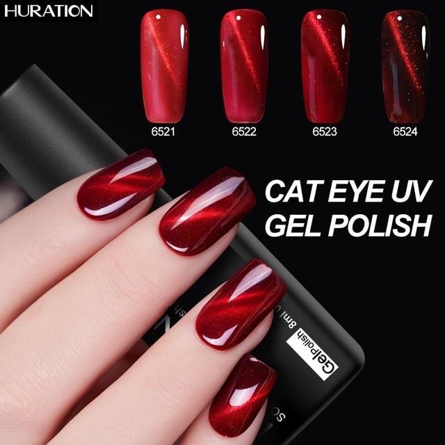 Huration 3D Magnetic Red Cat's Eye Nail Gel Lacquer 6 Colors Nail Art Flame Primer UV LED Gel Varnish 8ML Nail Gel Polish Set
