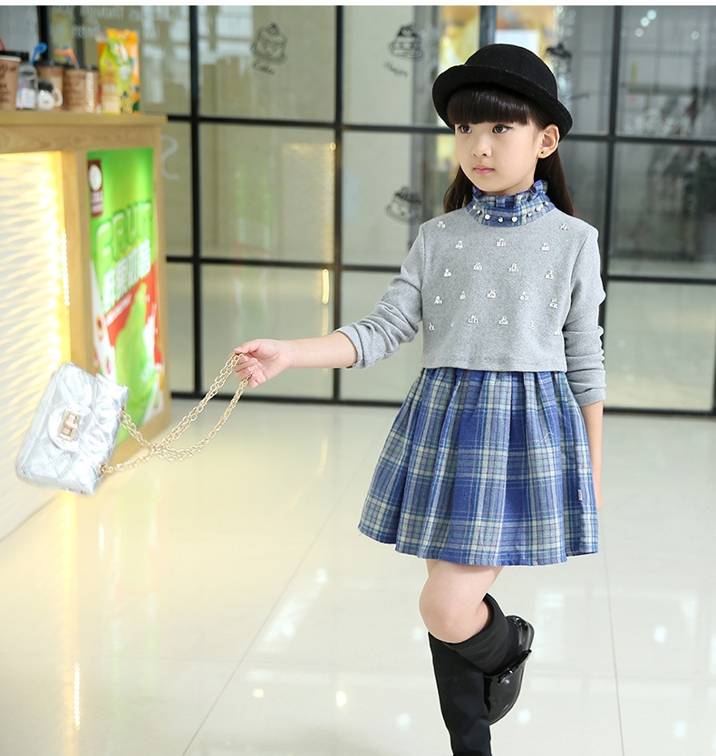 Children's clothing 2018 spring and autumn girls dress 3-15 year old girl long-sleeved plaid princess gray Leisure mini dress 2017 spring and summer fashion girls clothing europe and the united states wind dress long sleeved lace princess peng peng dress