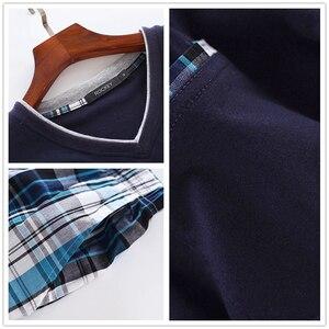 Image 5 - Sommer 100% baumwolle kurze pyjama sets männer nachtwäsche sexy V ausschnitt homewear kurzarm männlichen pijamas hombre pyjamas herren nachtwäsche