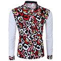 2017 new winter men's boutique shirt flower shirt Slim cotton shirt stitching