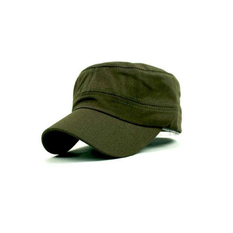 New Hat Fashion Summer Adjustable Classic Army Plain Vintage Hat Cadet Military Cap Black Coffee