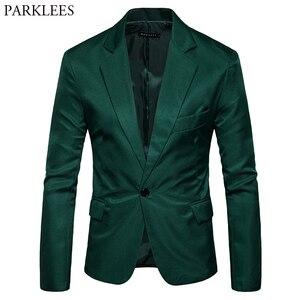 Image 1 - Erkek bir düğme çentikli yaka yeşil Blazer erkekler marka Slim Fit günlük giysi ceket Blazers erkek iş ofis kostüm Homme 2XL
