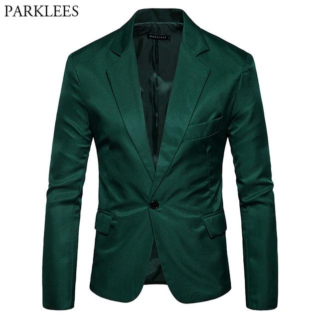 Erkek bir düğme çentikli yaka yeşil Blazer erkekler marka Slim Fit günlük giysi ceket Blazers erkek iş ofis kostüm Homme 2XL
