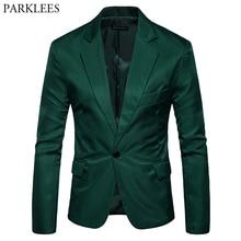 Męskie jeden przycisk proste klapy zielony Blazer mężczyźni marka Slim Fit garnitur casual kurtka Blazers męskie biuro biznes kostium Homme 2XL