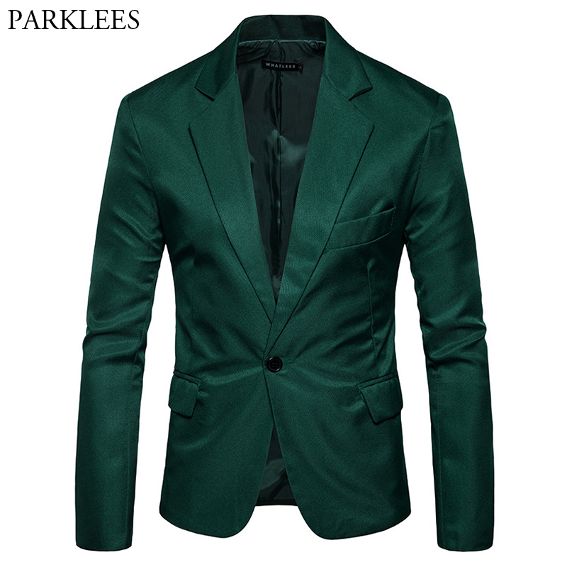 Mens One Button Notched Lapel Green Blazer Men Brand Slim Fit Casual Suit Jacket Blazers Mens Business Office Costume Homme 2XL