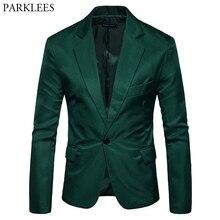 Мужской приталенный Блейзер s, зеленый Повседневный пиджак на одной пуговице с отложным воротником, деловой костюм для мужчин 2XL
