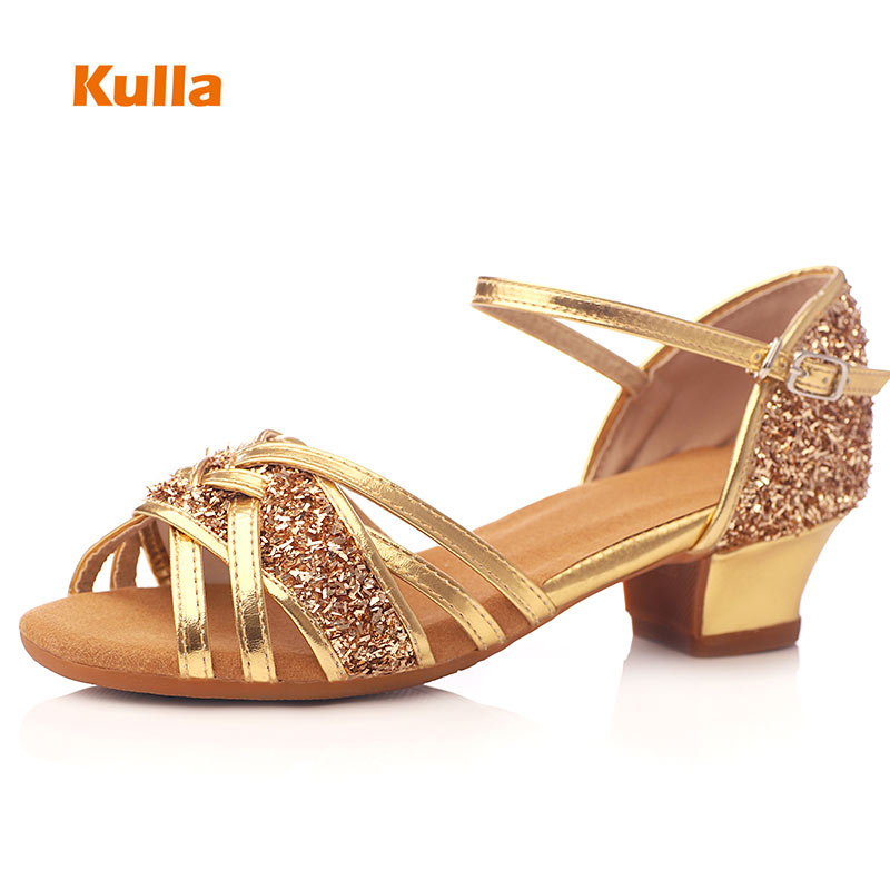 Gold Rose Salsa Dance Shoes Glitter Kids Soft Sole Dance Shoes Girls Low Heels 3.5cm Outdoor Women Jazz Dancing Shoes Wholesale