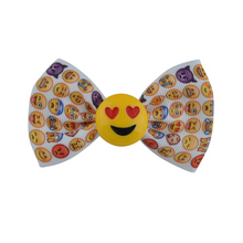 "3"" Boutique Handcrafted Smiling Face Grosgrain Ribbon Emoji Hair Bows With Alligator Hair Clip For  Girls Hair Accessories"