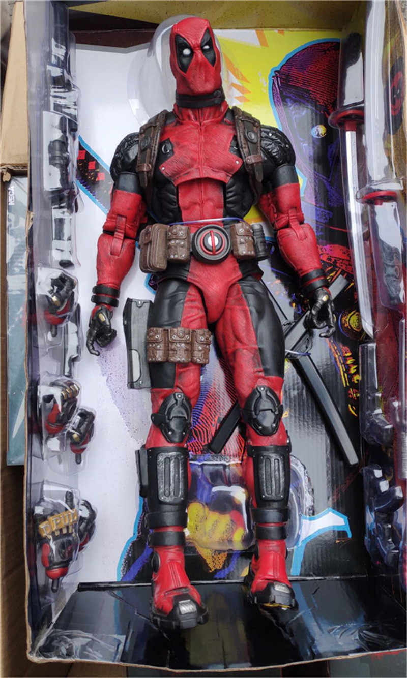 "NECA 18 ""45 CENTÍMETROS Figura Filme X-Men Deadpool Luxo Arma 1/4 Escala Joint Movable Figuras de Ação PVC collectible Modelo Toy Boneca"