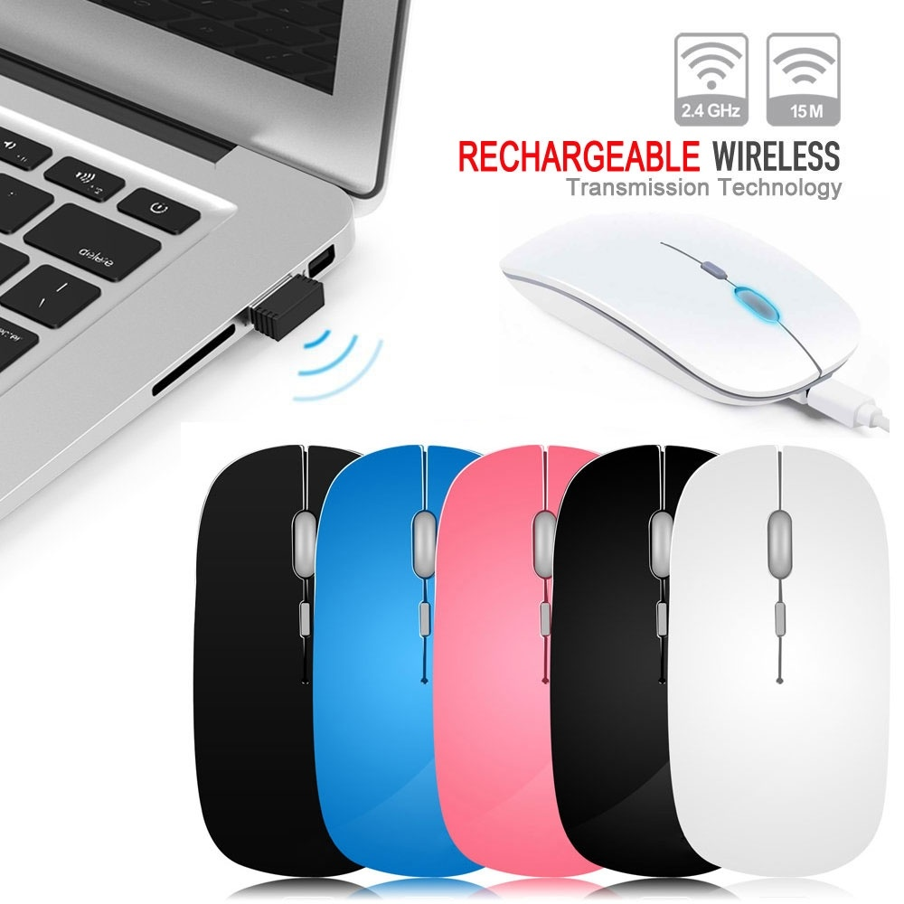 IceRay 2.4G USB Computer Rechargeable Wireless Mouse With Slient Button For PC Laptop rechargeable wireless mouse 2 4g 2400 dpi slient button gaming mouse built in battery with charging cable for pc laptop computer