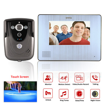 """7"""" Color Touch Screen Video Door Phone with PIR Record intercom System with IR camera max to support 32G SD card"""