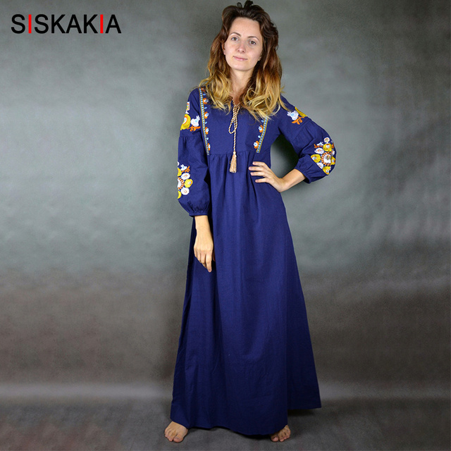 Siskakia Maxi long dress for Women Elegant Vintage Floral Embroidery Long Sleeve Dresses Female High Waist Swing Draped design