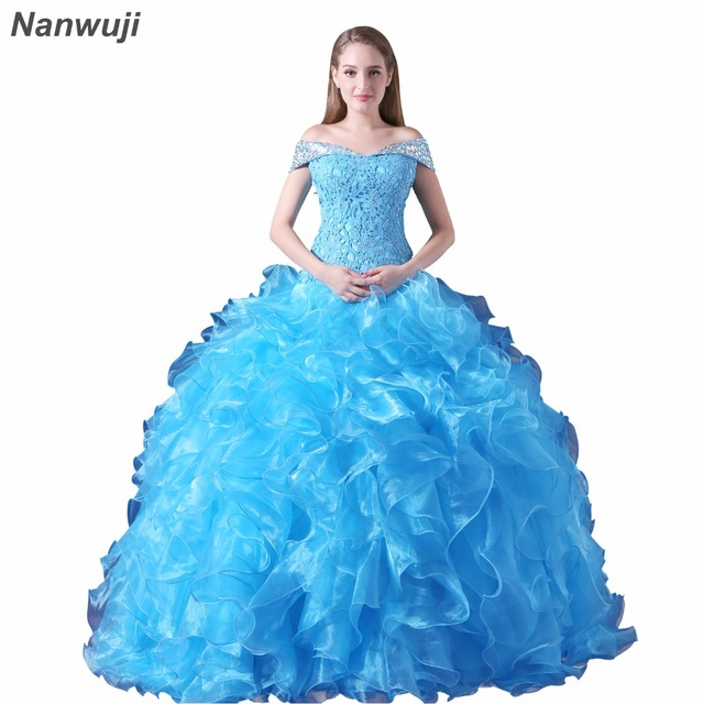 5a373e392b138 US $169.0 |Puffy Quinceanera Dresses 2018 Sweetheart Top Beading Sweet 16  Ball Gowns Blue Quinceanera Dress 15 Years Birthday Party-in Quinceanera ...