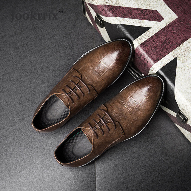 3d4a6e43ac8b US $65.09 |Jookrrix 2018 Spring Fashion Real Leather Business Shoes Men  Classic Lace Up Gentleman Black Male Formal Dress Shoes Breathable-in Men's  ...