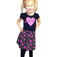 2017 Baby Girls Clothing Sets 2pcs Sweet Heart Girl Clothes Outfits New Summer Arrow T Shirt