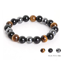 Wholesale Men Bracelets Natural Stone Bracelets for Women 10mm Beads Black Obsidian Tiger Eye and Hematite Stone Bracelet bohemian natural stone gravel bracelets for women 2019 new elastic bracelets jewelry tiger eye opal redstone nuggets bracelets