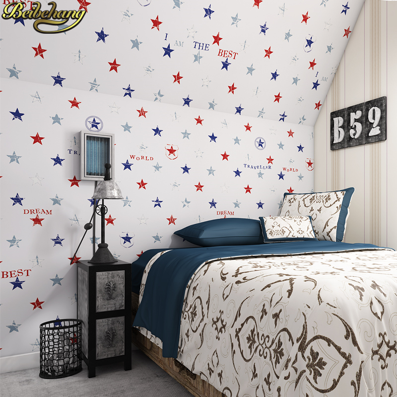 beibehang American Pentagram wallpaper for walls 3 d papel de parede wall papers home decor Children's room Living Room Bedroom beibehang twinkle little star child wallpaper house bedroom home decor background wall paper kids nursery room papel de parede