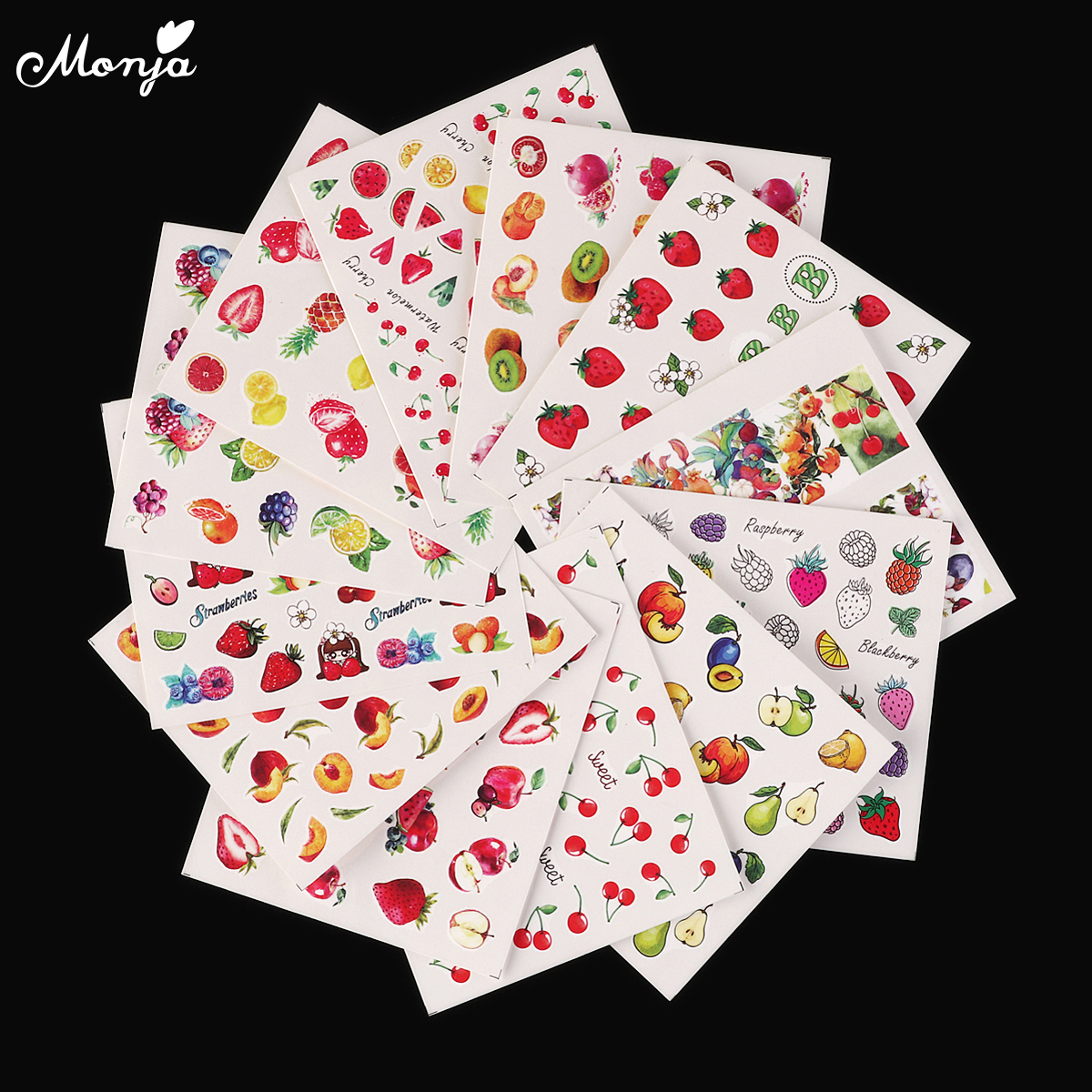 Monja 12 Sheets Nail Art Fruit Series Strawberry Apple Pattern Water Transfer Decals Stickers 3D