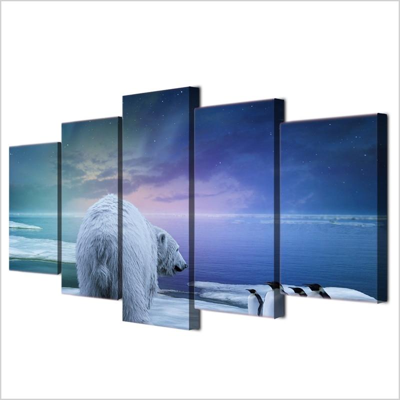 Modern Frames For Paintings Canvas 5 Panel Animal Polar Bear