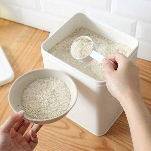 Image 3 - Boîte de rangement pour cuisine salle de bain, conteneur de riz, Grain 10l revêtement métal Zinc boîtes de rangement de poudre à pain avec cuillère