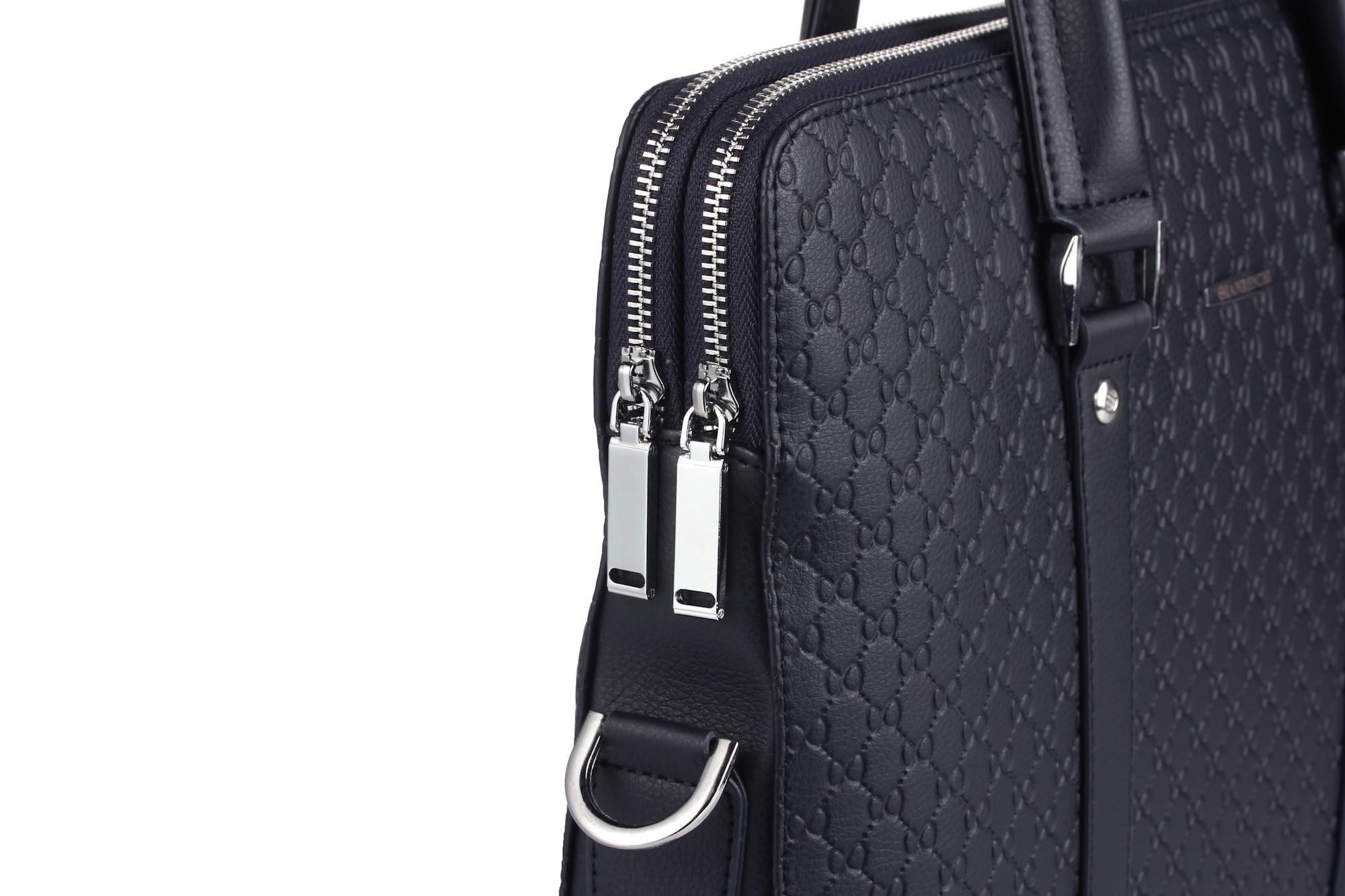 Doble capa de microfibra de cuero sintético de los hombres Maletín de negocios Casual bolso de hombro bolsa de mensajero portátil bolso de viaje - 4