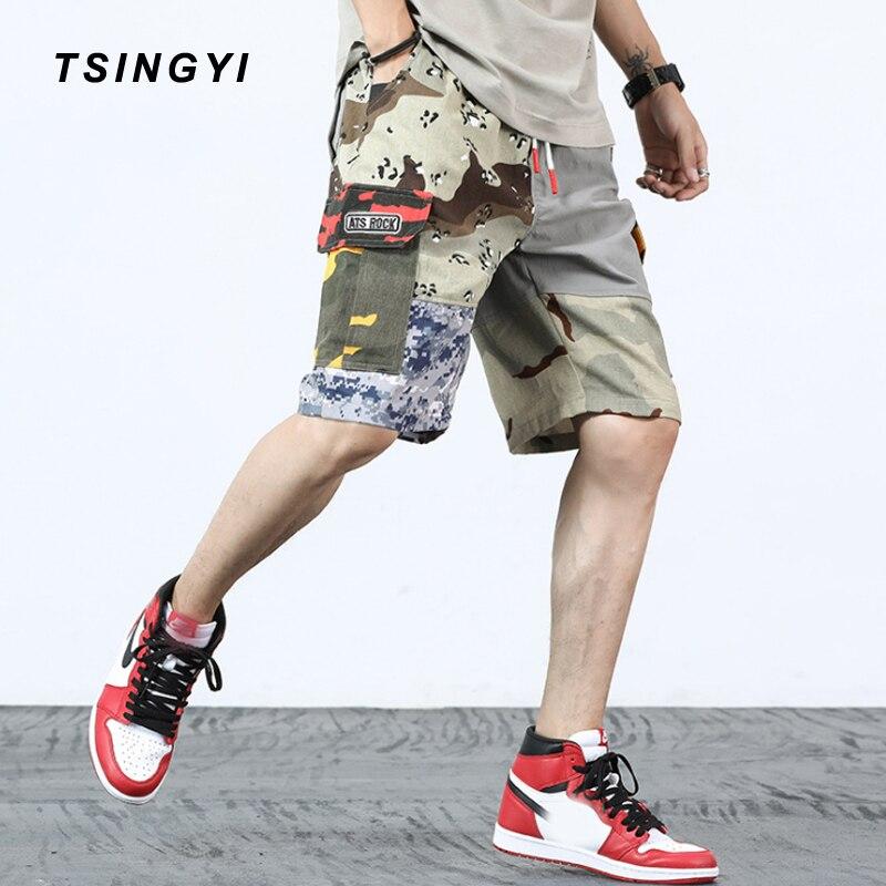Tsingyi Summer Patchwork Camouflage Military Mens Cargo Shorts Camo Hip Hop Streetwear Cotton Multi Pockets Loose Men Shorts