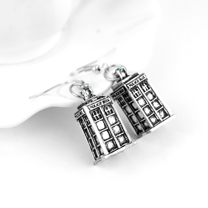 MQCHUN Fashion Vintage Mysterious Dr. Silver Color Alloy Drop Earrings Doctor Who TARDIS Earrings for Women Movies Jewelry -15