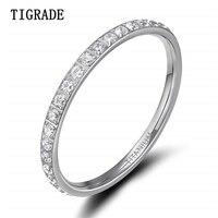 TIGRADE 2 мм женское титановое кольцо с кубическим цирконием Юбилейная Свадьба Помолвка размер от 4 до 13 Bage pour femme