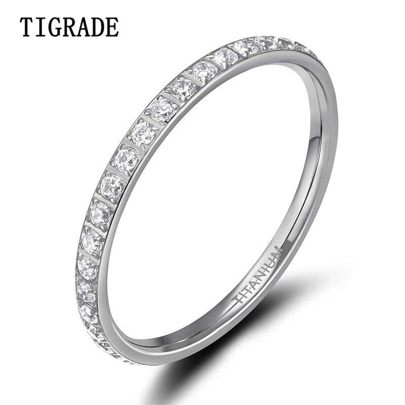 Tigrade 2mm feminino anel de titânio zircônia cúbica aniversário casamento noivado banda tamanho 4 a 13 bagues pour femme