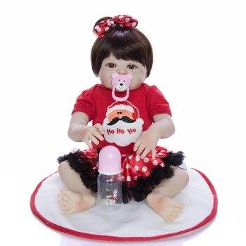 Boneca reborn bebe Girl Doll 23inch Full Silicone Vinyl reborn baby dolls Realistic Princess Baby Toy Doll For Children present