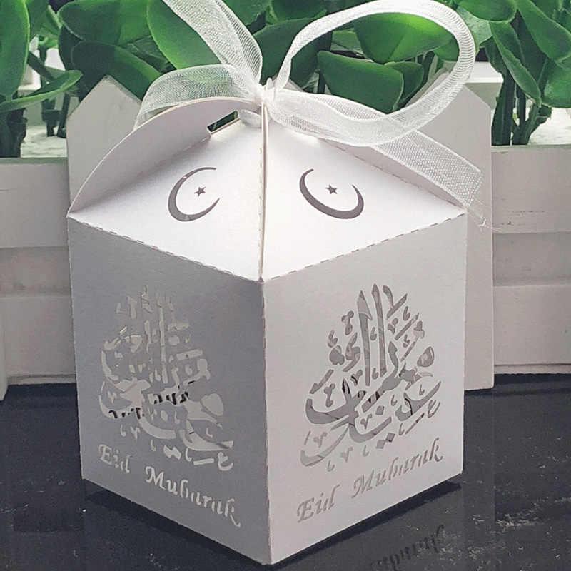 50 stücke EID MUBARAK Candy Box Ramadan Kareem Geschenk Tasche Lagerung Box DIY Glückliche al-Fitr Islam Ramadan Dekoration partei Liefert