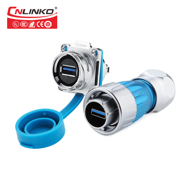 Factory IP67 USB3.0 Metal Shielded Plug Mount Socket Waterproof Cover Electrical Waterproof Car Audio Vertical USB Connector