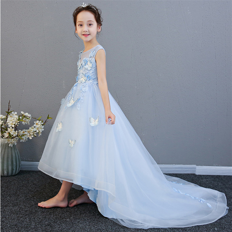 2018 Summer New Noble Elegant Children Girls Pink/Blue Birthday Wedding Party Princess Flowers Dress Babies Teens Host Dress