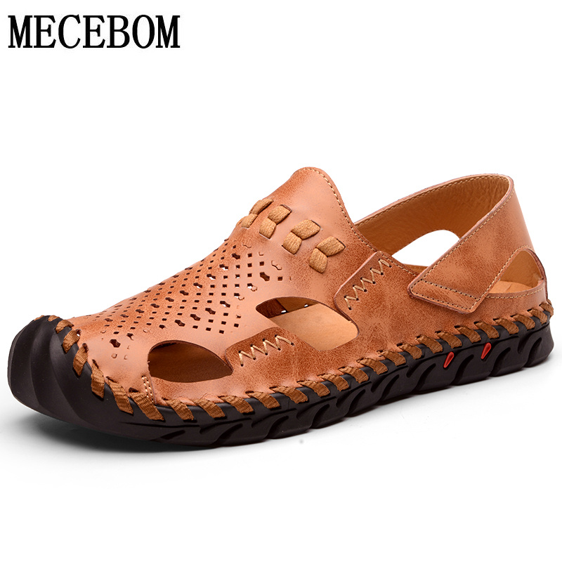 Shoes Bimuduiyu Cow Split Leather Men Sandals Waterproof Summer Flats Shoes Korean Version Daily Breathable Feet Lazy Casual Sandals Men's Sandals