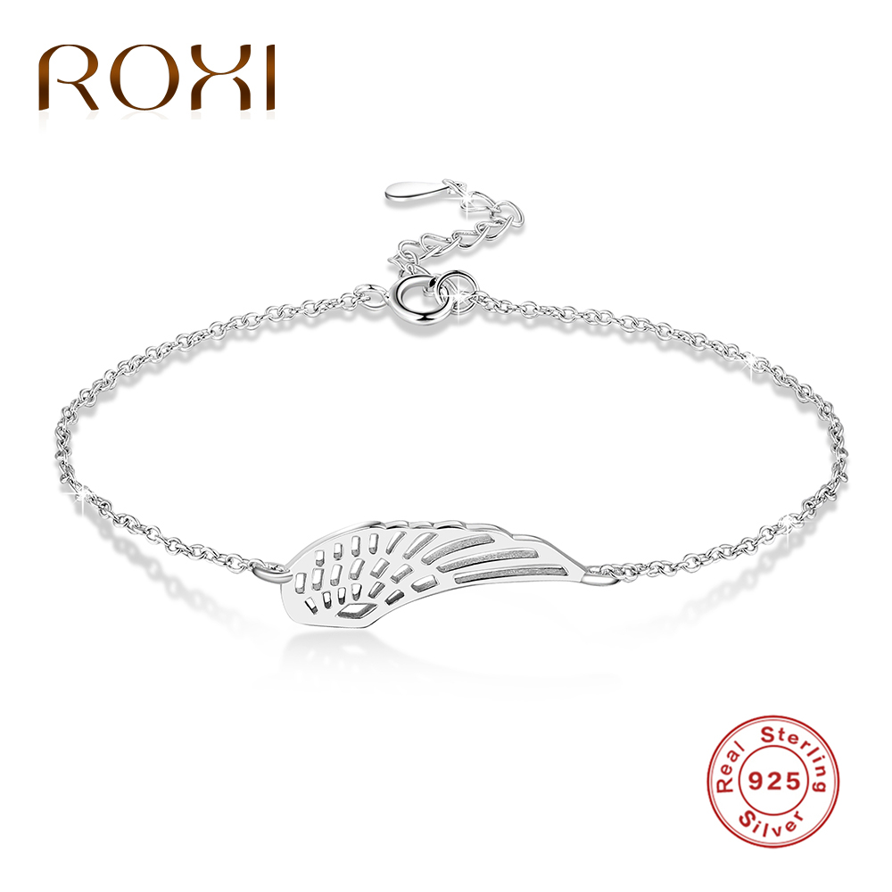 ROXI Authentic 100% 925 Sterling Silver Bracelet Wing Charms Pendants Love Chain Bracelets for Women Jewelry pulseira masculina