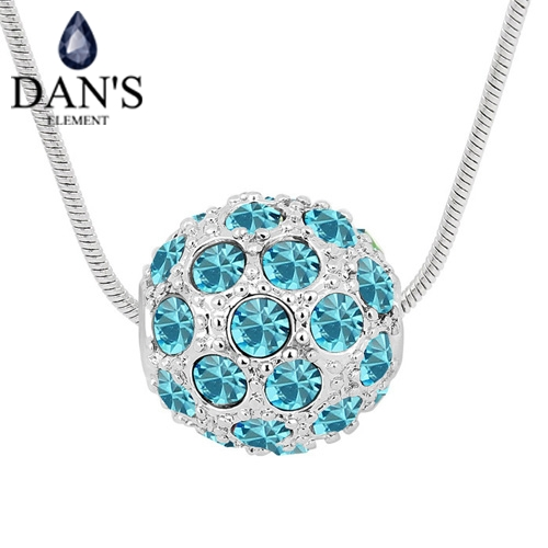 DANS 10 Colors Austrian Crystals Fashion Pendant Necklace for women Ball New Sale Top Hot Seablue