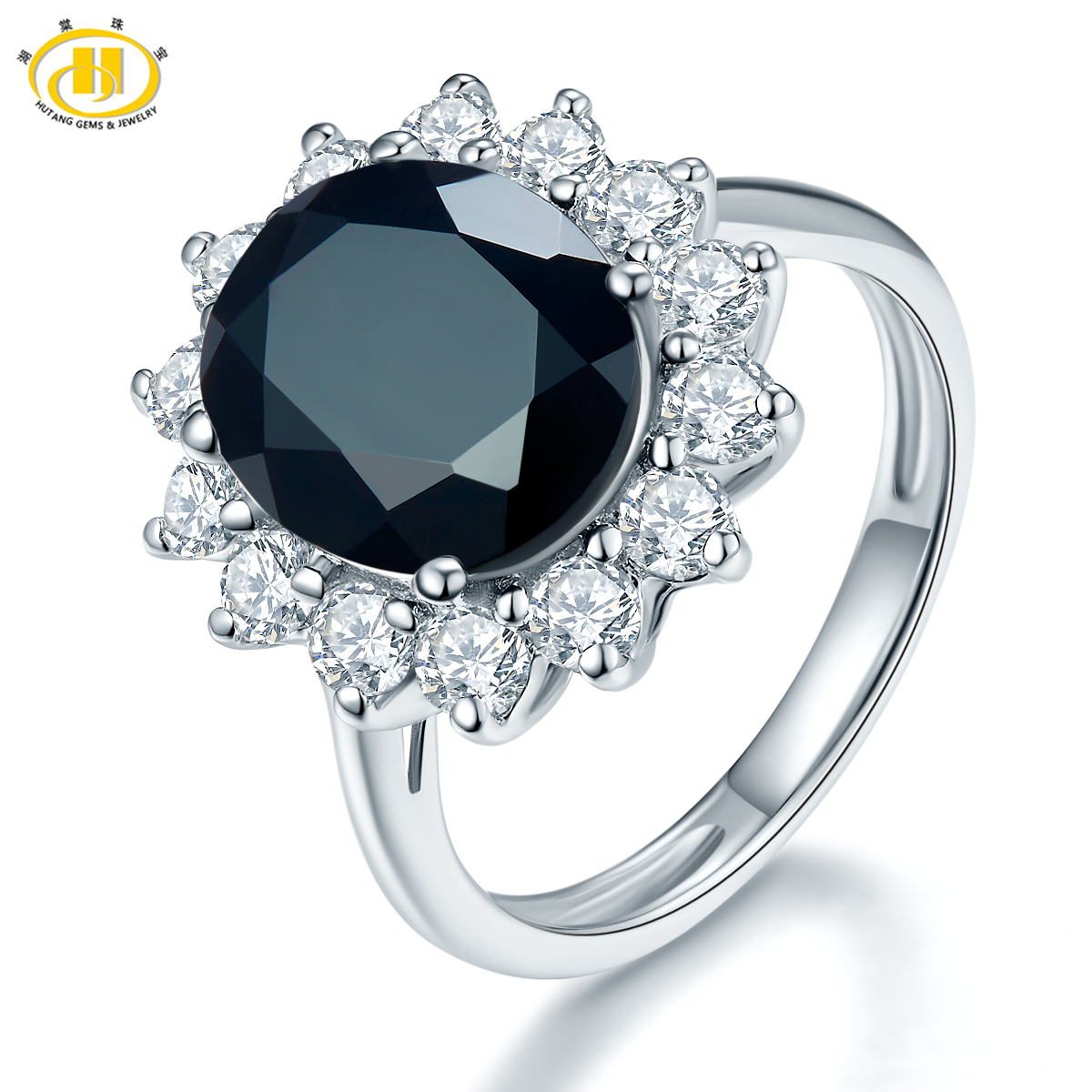 Hutang Classic Style Natural Black Spinel & Zircon Halo Ring Solid 925 Sterling Silver Gemstone Fine Jewelry For Women Party